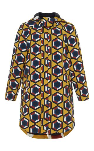 Medium parden s yellow yellow geometric ilanit hooded parka