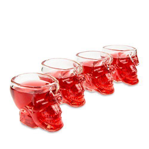 Skull–Tête de mort de gaz (60ml). Pour la maison bar/fête/au motif tête de mort, cadeau Vodka, de Whisky, tête de mort, verre à liqueur,…