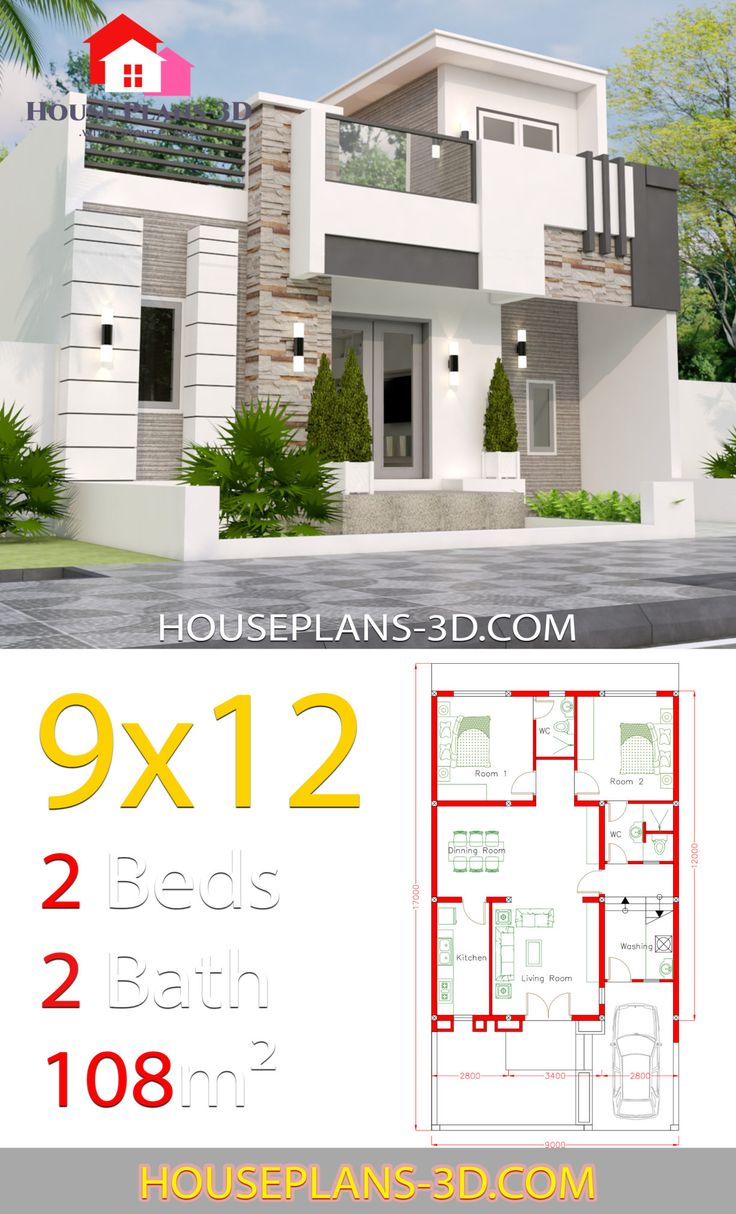 Best House Design 9X12 With 2 Bedrooms Full Plans In 2019 400 x 300