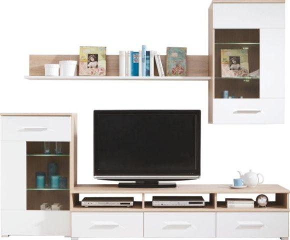 Elegante Wohnwand in trendigem Design in Kunststoff Weiß glänzend und einem Korpus in Eiche-Sonoma-Nachbildung. Der TV wurde zentral plaziert. In den darunter liegenden Schubladen ist Platz für Hifi und Zubehör. Die Beleuchtung ist inklusive.