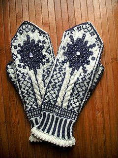Marie Curie mittens!  The design features the atomic models of the two atoms that Marie Curie and her husband discovered, Radium and Polonium.