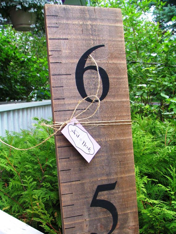 Growth Chart on barn board - baby growth ruler, wooden height chart with black numbers, baby shower gift, rustic growth chart