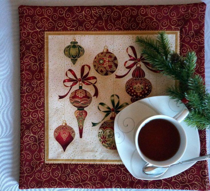 """Купить Ланчматы """"Семейные традиции"""" - бордовый, салфетки для сервировки, ланчматы, ланчмат, новогодние салфетки"""