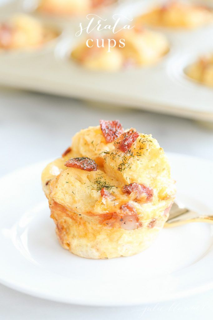 These beautiful strata cups are easy to make, serve and enjoy! Make these perfectly portioned and filling stratas ahead or just before guests arrive.