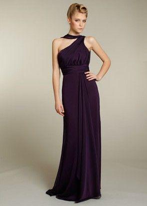 Concise long A-line sleeveless pleated empire belt grape chiffon Bridesmaid