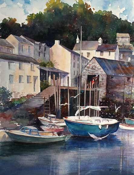 Original Watercolor Print DEVON Boat Water By RenaeHillFineArt 2800