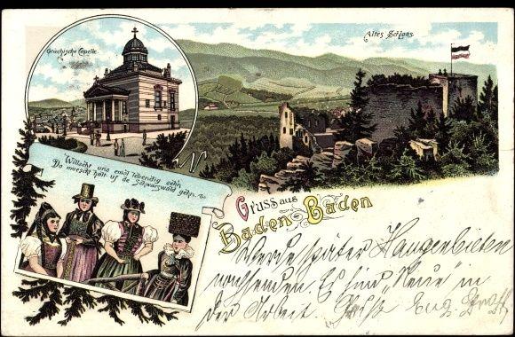 Litho Baden Baden, Griechische Kapelle, Schloss, Frauen in Tracht