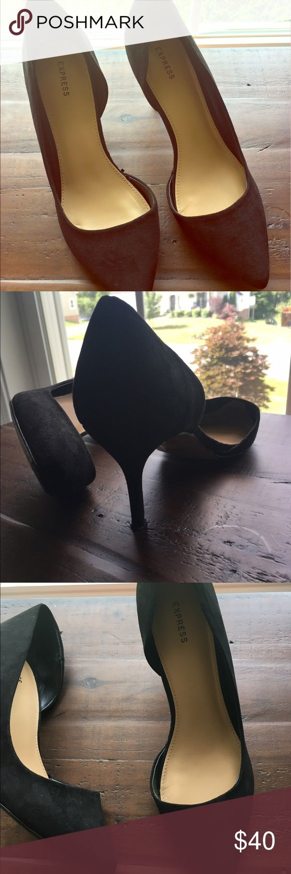 ⭐️Express Suede Black Classy Heels Size 8⭐️ ⭐️Express Suede Black Classy Heels Size 8⭐️ EXPRESS brand. Excellent Condition! Perfect for a formal event or business wear. Next day shipping. Made with suede material on the outside. All sales are final. Express Shoes Heels