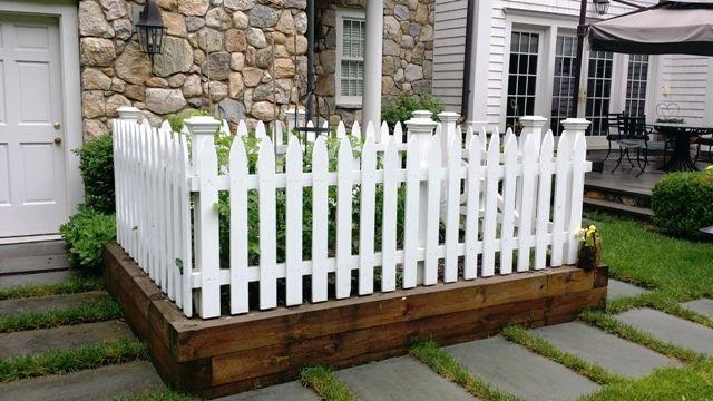 White wood picket garden fence | Types of fences, Wood ...