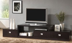 TV stands feature contemporary sleek lines, pullout drawers for storage, and shelves for entertainment devices