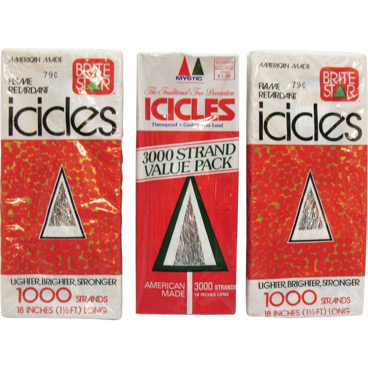 Three vintage unopened packages of flame retardant icicles strands from the 1970s still like new.  There are 5,000 strands that are 18 inches long.