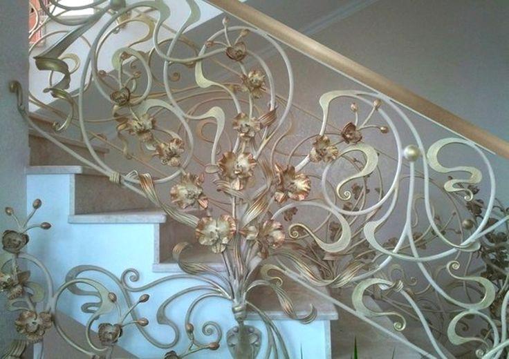 Кованые внутренние перила с орхидеями в стиле модерн. Город Хмельницкий, Украина