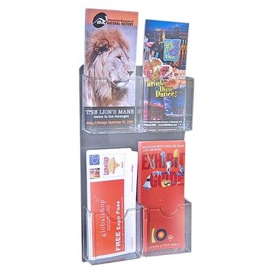 Azar Four-Pocket Wall Mount Brochure Holder 2ct, Clear