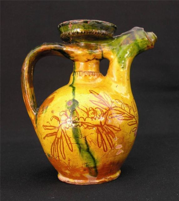 Antique Islamic Ottoman Empire Canakkale Pottery Ewer C