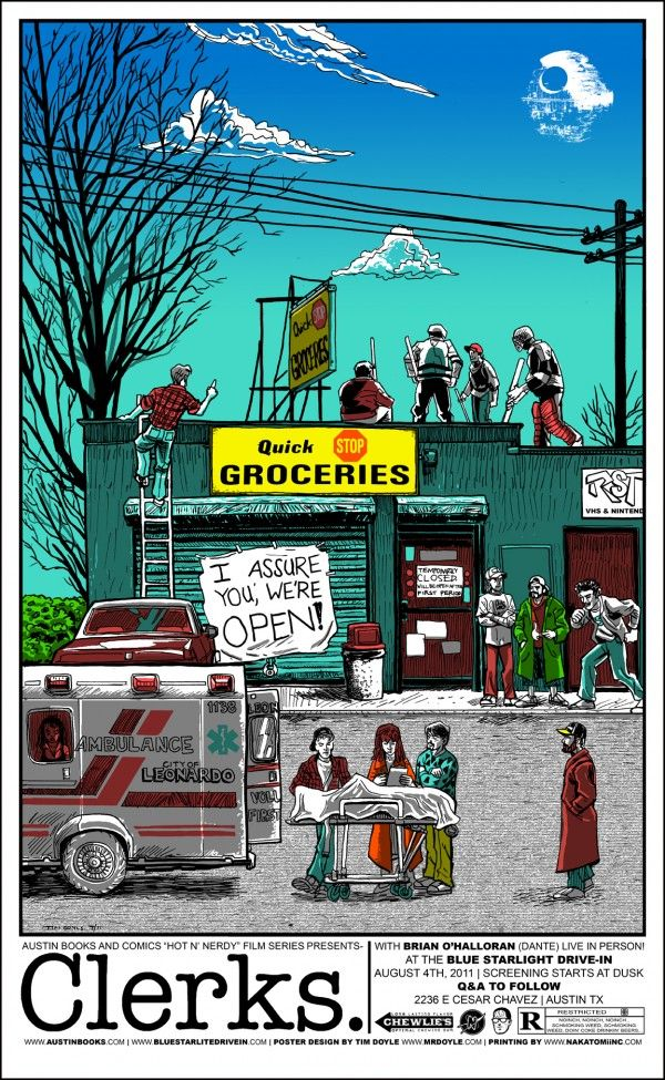 clerksFilm, Movie Posters, Picture-Black Posters, Tim Doyle, Art, Kevin Smith, Prints, Favorite Movie, Clerks