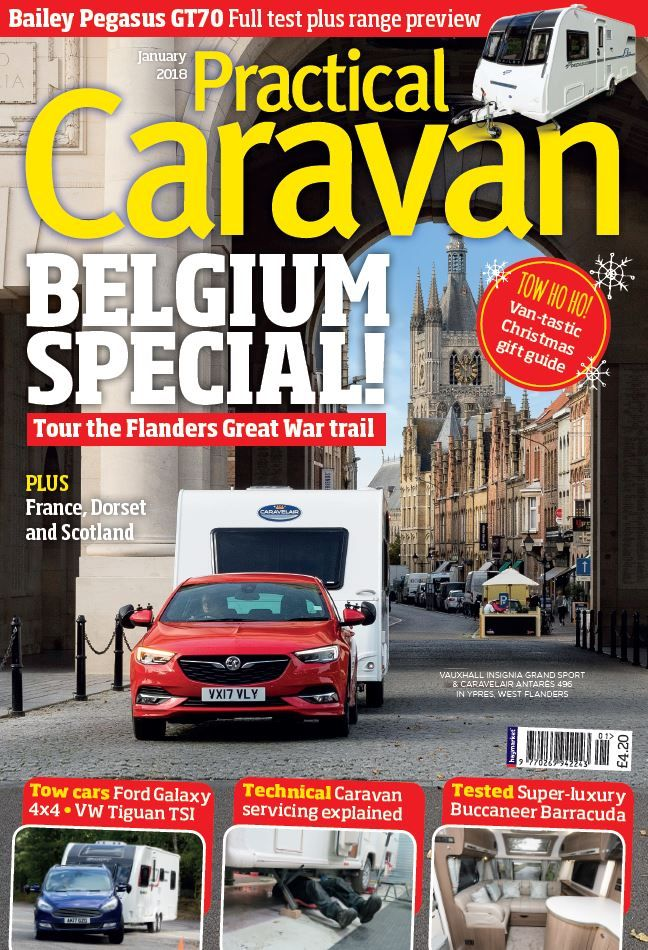 In the latest issue of <strong><em>Practical Caravan</em></strong>, tour the Flanders Great War trail in our Belgium special.     Also inside there's a full test and range review of the Bailey Pegasus GT70, technical caravan servicing explained and other getaways in Dorset, France and Scotland.    <strong>PLUS</strong>: A van-tastic Christmas gift guide, the super-luxury Buccaneer Barracuda tested and much more!