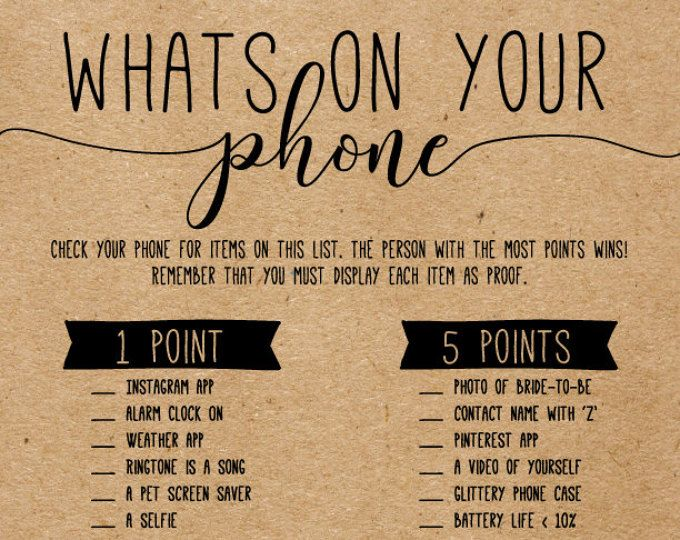 What's in Your Phone Game . Bridal Shower Whats in Your Phone Game . Whats On Your Phone . Printable Instant Download . Bridal Shower Game