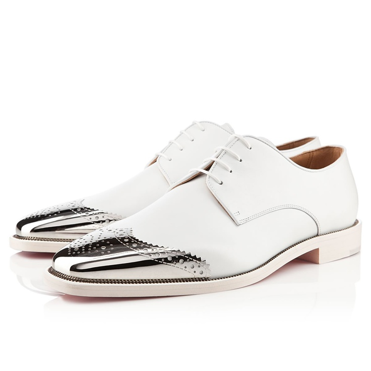Christian Louboutin Gareth Zip Men\u0026#39;s Flat White Leather | Shoe-la ...