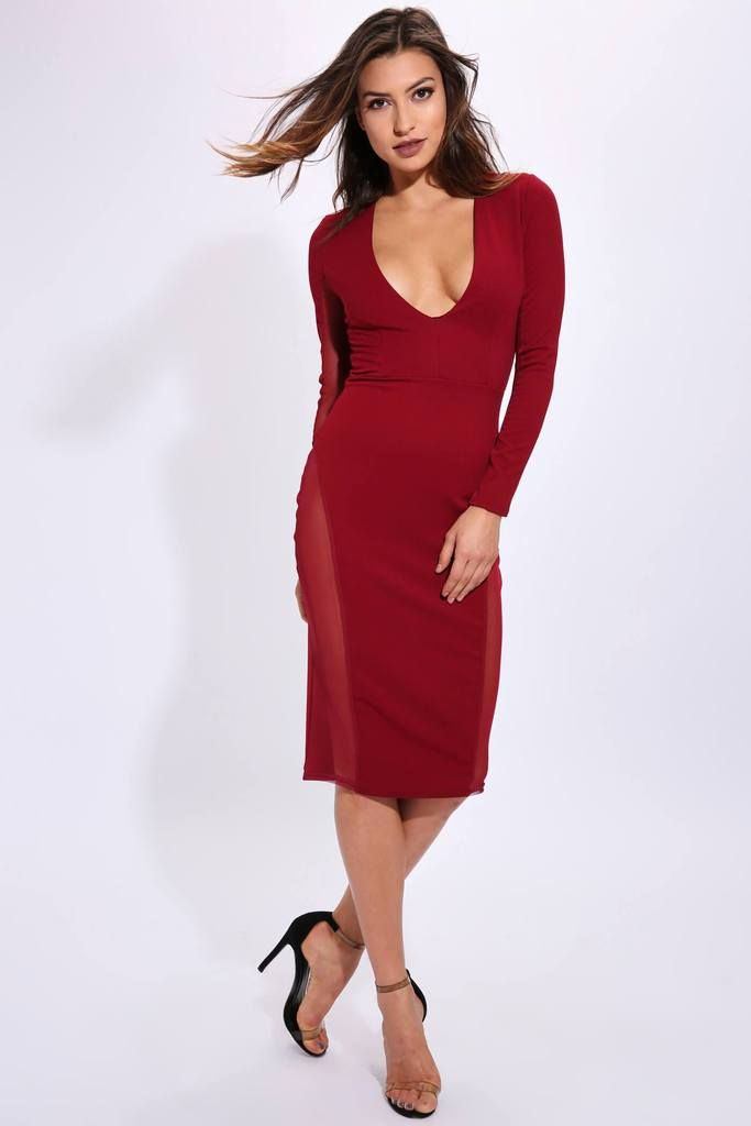 Burgundy Plunge Long Sheer Sleeve Bodycon Midi Dress  6dd704656