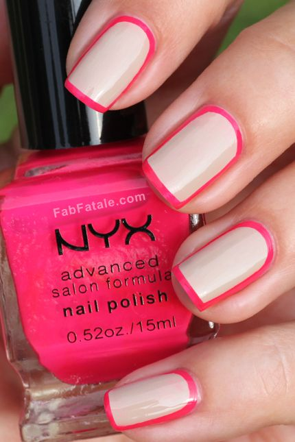 Outline Border Nails with nude and hot pink