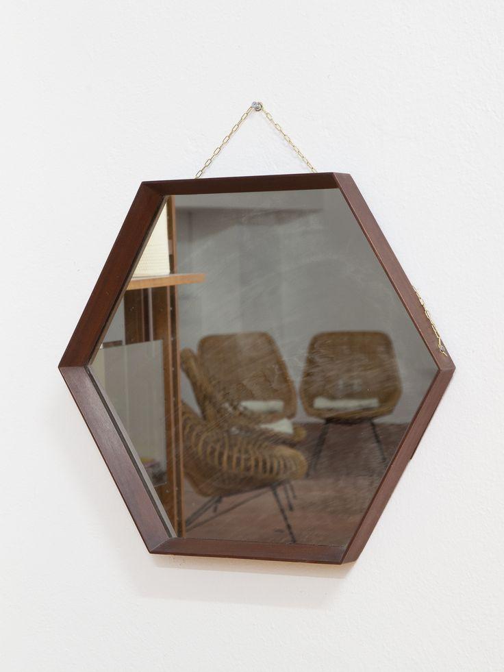 Specchio esagonale cornice in legno anni '50