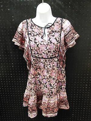 Ecote Urban Outfitters Boho Dress Lavender Salmon Black Size Small B260