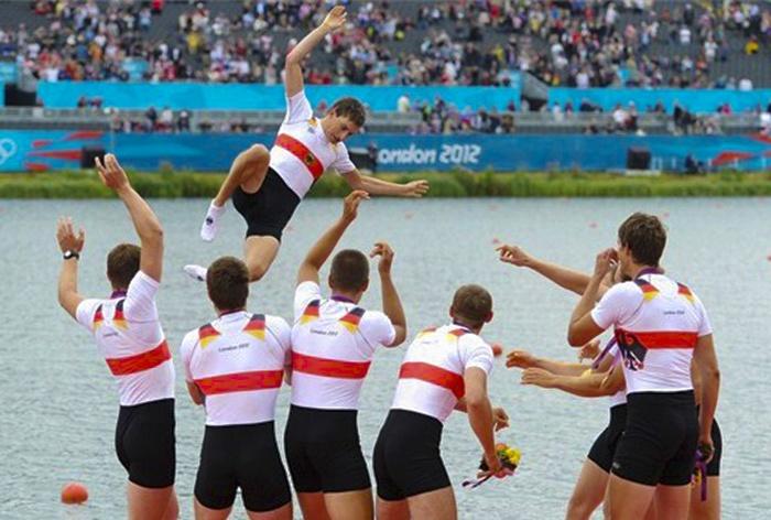 Germany celebrate wining Rowing gold at Eton Dorney