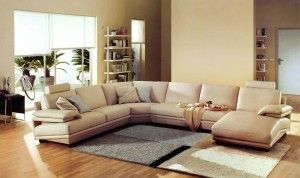 Awesome Beige Leather Sectional Sofa
