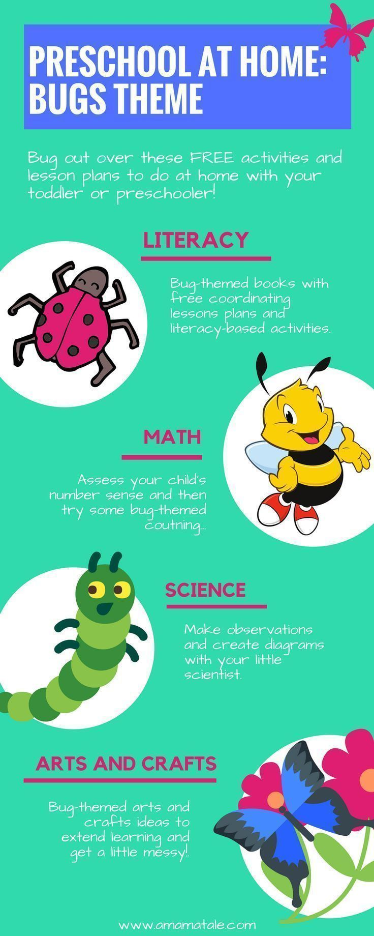 Bugs Theme Preschool at Home | Preschool | Home School | Preschool at Home | Preschool Activities | Preschoolers | Toddlers | Early Literacy | Preschool Math | Preschool Math | Looking for early learning strategies to do with your preschooler or toddler at home? Click to get FREE lessons and activities on www.amamatale.com #homeschoolingfortoddlerslessonplans