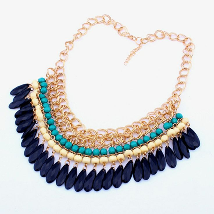Mixed Gold Chained Black Blue White Necklace via Procer SHOP. Click on the image to see more!