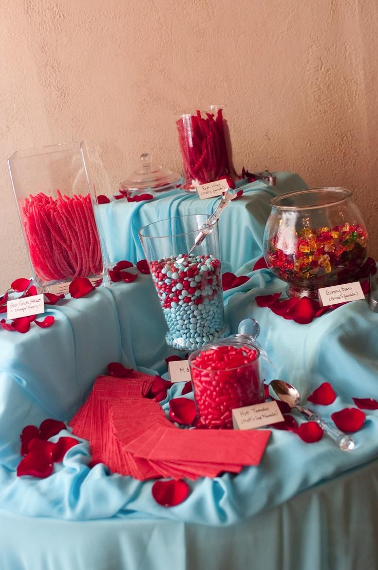 Red & aqua blue wedding candy station