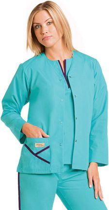 9506 Y-Pocket Jacket: 	Snap front warm-up jacket with tunnel tie back and side vents. One pocket with Y detail and deep hem on sleeves. 65% polyester/ 35% combed cotton poplin. XS-2XL.
