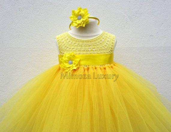 Yellow Flower girl dress Daffodil tutu dress by MimozaLuxury