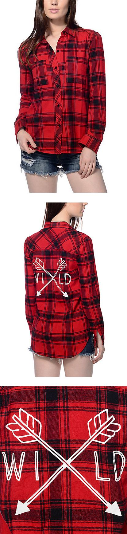"""Throwback to the early 90's and the grunge period, this Ashton Wild red and black flannel by Empyre screams to be paired with ripped pants and cropped tops. The screen print on the back reads """"Wild"""" with two bows crossed within. This flannel is the ultimate look for your throwback style."""