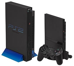 """Left: The original design with vertical stand. Right: The """"slimline"""" PlayStation 2."""