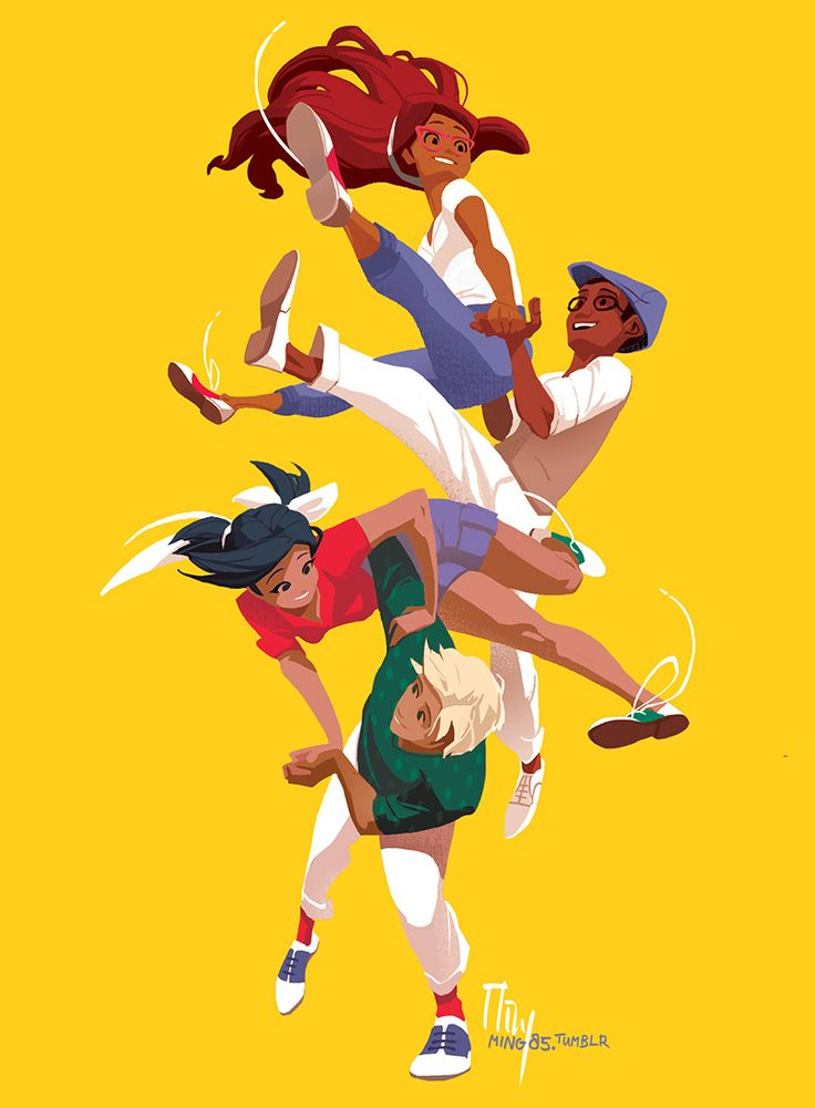 """ming85: """" Lindy hop for the @menons-la-danse-zine ! Had fun looking up all those crazy acrobatic moves, thought it would be a really good fit for these kids :) """""""