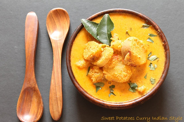Sweet Potato Curry, infused in coconut and whole ground Indian spices, tastes yum, delicious, also healthy