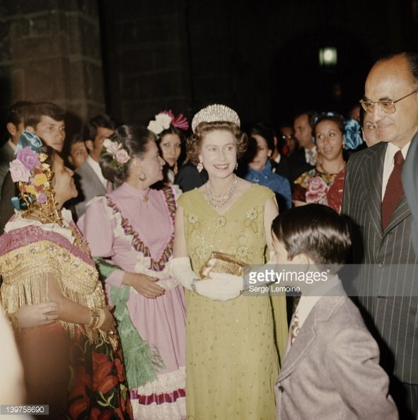 1 JANUARY 1975  Queen Elizabeth II with Mexican President Luis Echeverria (right) during her visit to Mexico, 1975.