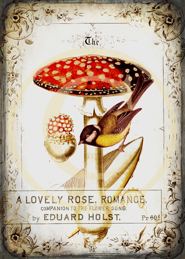 Printable Mushroom and Bird Wall Art - 5 x 7 Digital Download. $3.55, via Etsy.