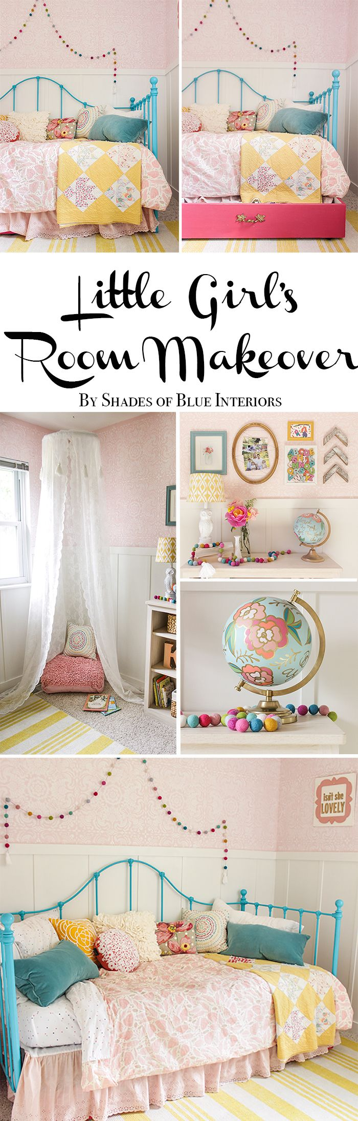 Little girl's room makeover including painted board and batten, stenciled walls, striped rug, daybed, storage trundle, and canopy.
