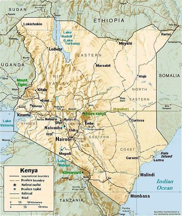Kenya Relief Map With Town Names Kenya Kenya Nairobi Happy Valley