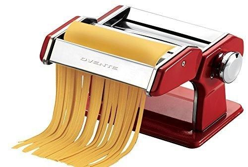 Ovente PA515R Vintage Stainless Steel Pasta Maker 150mm Metallic Red