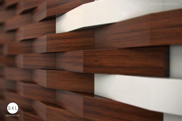 Detalle de listones de madera en muro de la recepción, oficinas Aris. // Diseño: S-XL Arquitectos.