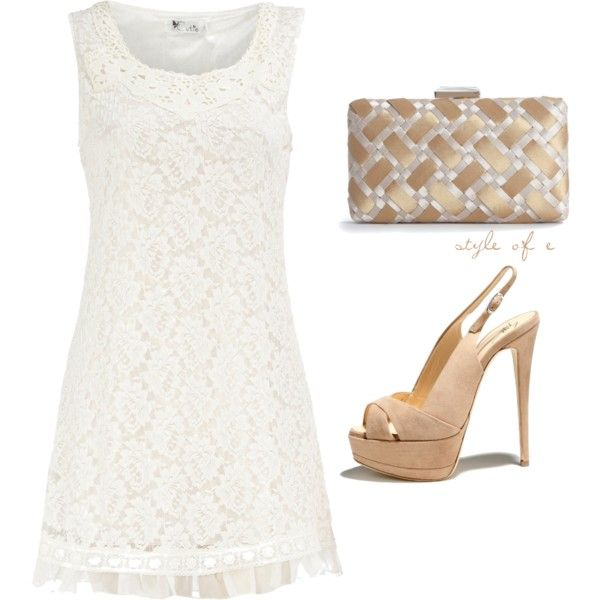"""""""White Lace"""" by styleofe on Polyvore: Shoes, Dreams Closet, White Parties, Graduation 2014, Colleges Graduation, White Lace Dresses, Graduation Outfits, Styleof Polyvore Com, Graduation Dresses"""