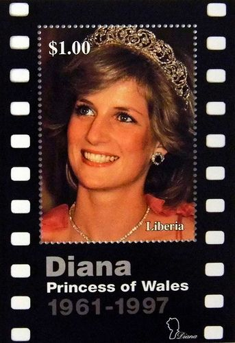 "Princess Diana ""Film Picture"" Commemorative Stamp Sheet Issued by Liberia, Diana - Princess of Wales 1961 - 1997."