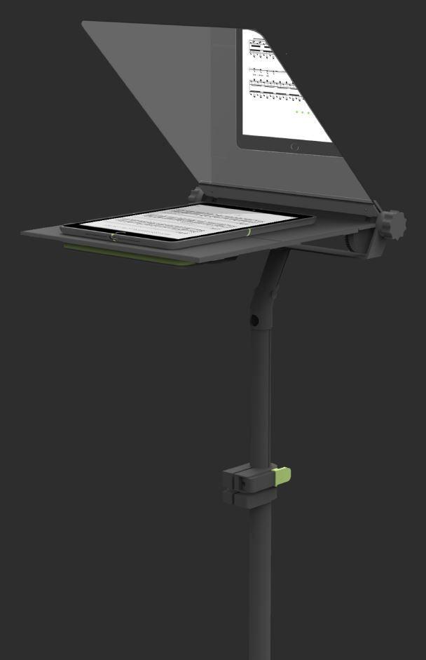 | Masterthesis productontwikkeling: Vantieghem Marie | TDD| In deze masterproef wordt er op zoek gegaan naar hardware voor digitale muziekpartituren die muzikanten, dirigenten en muziekleraren ondersteunt tijdens het musiceren. Het resultaat bestaat uit een digitale pupiter en een intuïtieve GUI. De grootste innovatie van dit product bevindt zich in het gebruik van een two way mirror acrylaat dat het scherm van de tablet reflecteert. Lijkt mij een leuk project om voor te ontwerpen!