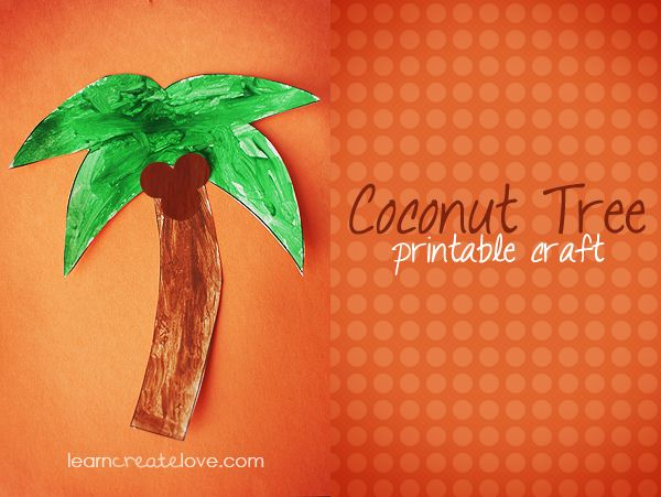 Trees tissue paper and chica chica on pinterest for Printable coconut tree template