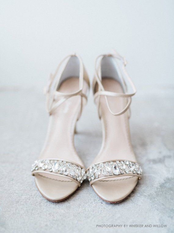 198783c60a407 Nude Wedding Shoes Blush Pink Strappy Bridal Heels with Crystals and Mesh  for Bridesmaid Bella Belle