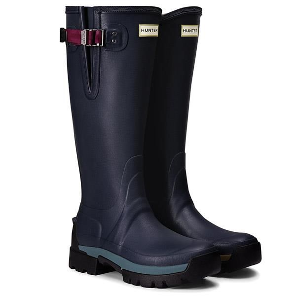 Hunter Women's Balmoral Side Adjustable 3mm Neoprene Wellington Boot - Navy/Peppercorn