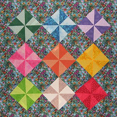 Learn to Sew Colorful Pinwheel Quilt Blocks With This Free Pattern: Pinwheel Quilt Blocks On Point